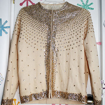 Glittery Cream Cardigan Sweater with Metallic Gold Sequins