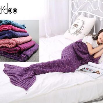 Mikrdoo Size baby kids women Sleeping Bag Crochet Throw Bed Wrap Blanket Handcrafted Knitted Mermaid Tail warmer free shipping