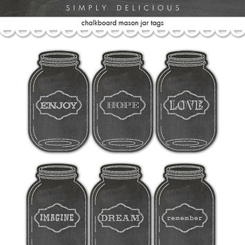 Digital Chalkboard  Mason Jar Tags / collage sheet / two sizes / downloadable / printable