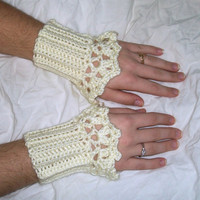 Antique White Lacy Wrist Warmer Cuffs
