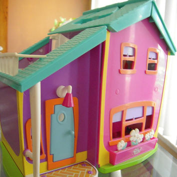 Colorful toy doll house, bright colors interactive house,miniature portable doll house, 2 story toy house, nursery decor,unisex child's toy.