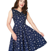 Nautical Dress Sailor Dress Pin Up Dress V neck Plus Size Dress Navy Anchor Rockabilly Dress Vintage 50s Swing Prom Retro Bridesmaid Party