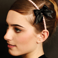 Pearl And Bow Girly Headband - Unique Vintage - Cocktail, Evening  Pinup Dresses