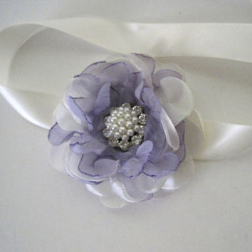 Baby Ribbon Wrist Handmade Corsage Designed in Your Colors with Pearl Rhinestone Accent Custom Order Wedding Accessories Baby Accessories