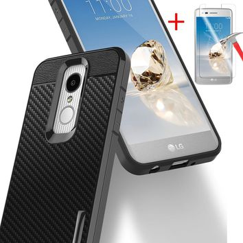 Carbon Fiber Ultra Slim TPU Phone Case Cover for LG Aristo 2 X210 LG LV3(2018) With HD Screen Protector