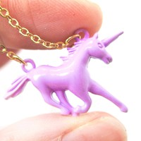 Unicorn Horse Animal Pendant Necklace in Pale Purple | Animal Jewelry