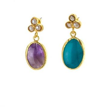 Agate Stone Drop Earrings with MOP