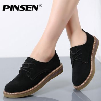 PINSEN 2017 Autumn Women Oxford Shoes Flats Shoes Women Leather Suede Lace up Boat Shoes Round Toe Flats Moccasins