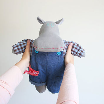 Plush doll lumberjack outfit - Hippo stuffed animal - Hippopotamus soft doll - Toy for boy - Modern cuddly toy - Hipster Morton the Mippo