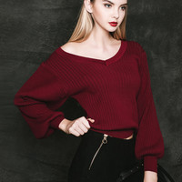 Burgundy Off Shoulder Cable Knit Casual Sweater