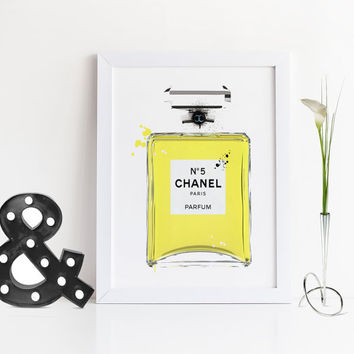 ORIGINAL CHANEL PERFUME,No5 Chanel Perfume Bottle,Chanel Perfume Paris,Fashion Illustration,Fashion Print,Birthday Gift,Gift For Wife,Print