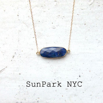 Oval Lapis in Delicate Goldfilled Chain Necklace/Delicate Gold Necklace/Birthstone Necklace/Dainty Gold Necklace/Precious Gemstone Necklace