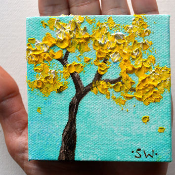 Tiny art, Miniature, Yellow Tree Turquoise Sea green Sky, Miniature Original Oil Painting, Dollhouse Art, American Girl Doll, 3""