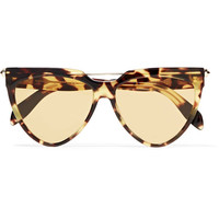 Alexander McQueen - D-frame tortoiseshell acetate and gold-tone sunglasses