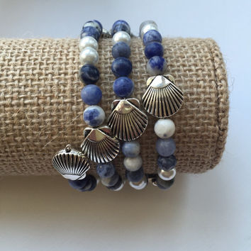 Nautical beaded wrap bracelet, blue stone and faux pearl with silver scallop beaded bracelet, memory wire bracelet, shades of blue, beachy