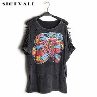 2017 Summer Women Punk Rock T-shirt Graffiti Print Vintage Hollow Out Batwing Sleeve Washed Tees Hip Hop Plus Size Tops