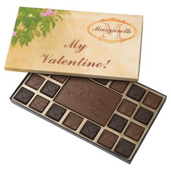Monogrammed valentine pink roses on sunny wall assorted chocolates