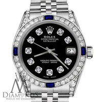 Rolex 31mm Datejust SS Black Dial with Sapphire & Diamond Bezel Ladies Watch