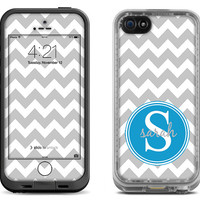 Gray Chevron Pattern w/ Electric Blue Monogram Decal Skin for the iPhone 4/4s Lifeproof Case, iPhone 5/5s/5c Lifeproof Fre/Nuud Case