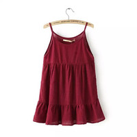 Summer Cotton Linen Spaghetti Strap Tops Round-neck Pleated Pullover One Piece Dress [6050435393]