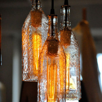 Recycled Bottle, Pendant Lamp, Seagram's Bottle, Hanging Bottle Pendant, Chandelier, Bottle Lamp with Edison Lightbulb