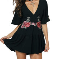Rose Embroidered Black Romper