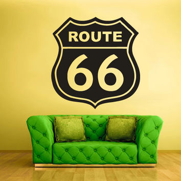 Wall Vinyl Sticker Decals Decor Art Bedroom Design Mural Route 66 Highway Sign Road Street (z824)