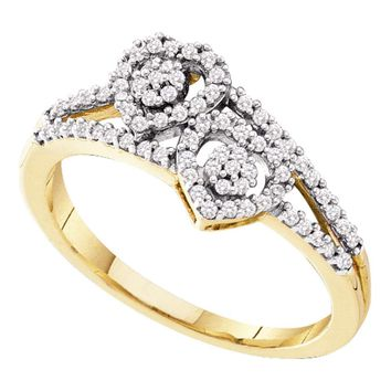 10kt Yellow Gold Womens Round Diamond Double Heart Cluster Ring 1/4 Cttw