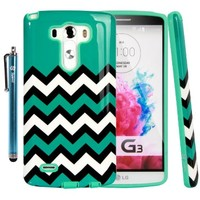 LG G3 Case, LG G3 Chevron Design Case - Style4U Slim Fit Dual Layer Hybrid Armor Protective Case Cover for LG G3 with 1 Stylus [Turquoise / Mint Green]