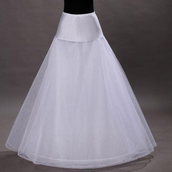 High Quality A Line 1-hoop 2-layer Tulle Wedding Bridal Petticoat Underskirt Crinolines for Wedding Dress = 1932592004