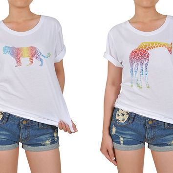 Women's Abstract Rainbow Animals Printed Cotton T-shirt WTS_12