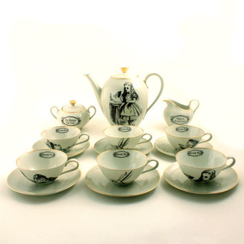 Mad Tea Party Alice in Wonderland  6 Person Porcelain Complete Coffee Tea Cup Plate Teapot Creamer Sugar Pot Vintage Unique One of a Kind