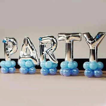 40 inches Silver Letter Foil Balloons Birthday Party Banner Large Helium Balloon Wedding Decoration Air Ballons Holiday Supplies