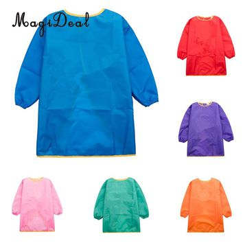 MagiDeal Children Kids Long Sleeve Apron Drawing Painting Waterproof Smock  Polyester fiber waterproof fabric Apron S/M/L
