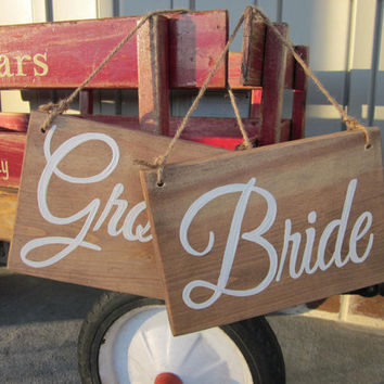 Bride and Groom Wedding Chair Handpainted Signs  - Mr and Mrs Chair Signs Set-  Rustic, Country Wedding Decor