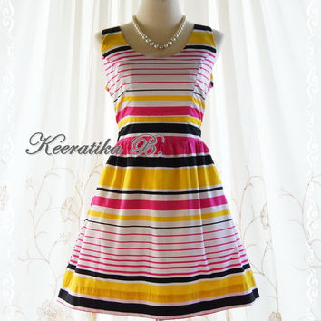 Colorful Stripe Dress Pink Yellow Black White Colors Simply Casual Party Bridesmaid Tea Dress Vintage Style