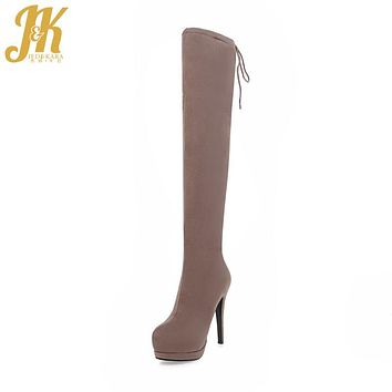 J&K 2017 Hot Sale Sexy Super High Heel Winter Boots On The Platform Over The Knee Boots Side Zip Women Shoes Flock Female Shoes