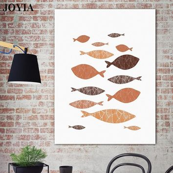 Abstract Swimming Fish Canvas Wall Art Decor Gray Brown Fishes Canvas Paintings Scandinavian Style Decor Poster Minimalist Arts