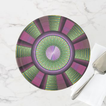 Round And Colorful Modern Decorative Fractal Art Cake Stand