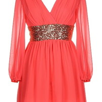 Roman Holiday Dress | Coral Long-Sleeve Sequin Dresses | RicketyRack.com
