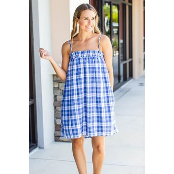 Summer Day Gingham Dress - Blue