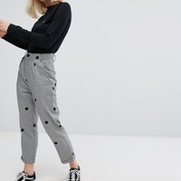 Lazy Oaf High Waist Peg Houndstooth Pants With Polka Dots at asos.com