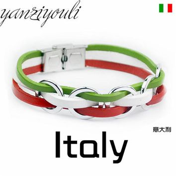 National Italy France Russia National Flag Rope Surfer Leather Bracelet Bangle Wristband For Men Friendship Gift D110