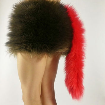 Red Tail- FREE SHIPPING -Handmade Fur Costume Tail Long Red Tail Red Costume Tail Halloween, Raves, Cosplay