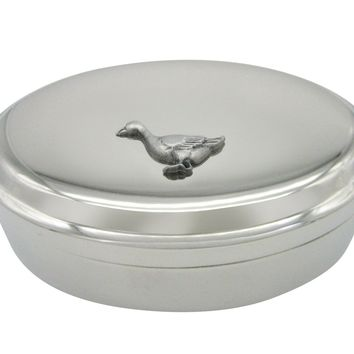 Detailed Goose Bird Pendant Oval Trinket Jewelry Box