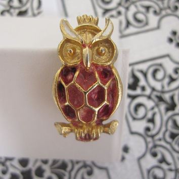 Vintage Hobe Signed Figural Owl Bird Gold Tone Small Pin Brooch, Ruby Red and White Enamel, Mad Men mid-century style