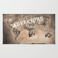Adventure is out there. Stars world map. Sepia Rug by Guido Montañés