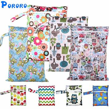 Waterproof Baby Diaper Bags Single Zipper Print Reusable Baby Nappy Wet Dry Bags Maternity Bag 16X20cm or 30x40cm Wet bag