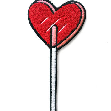 Heart Lolli Chenille Patch - Red