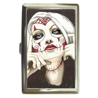 Zombie Sugar Skull cigarette money card case by ShayneoftheDead